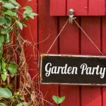 29654378 - old metal sign with the inscription garden party