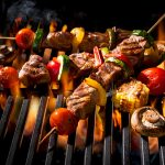 63981896 - barbecue skewers meat kebabs with vegetables on flaming grill